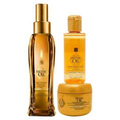 LOREAL - Set Brillo y Nutrición Aceite 100 ml + Shampoo 75 ml + Máscara 75 ml Mythic Oil