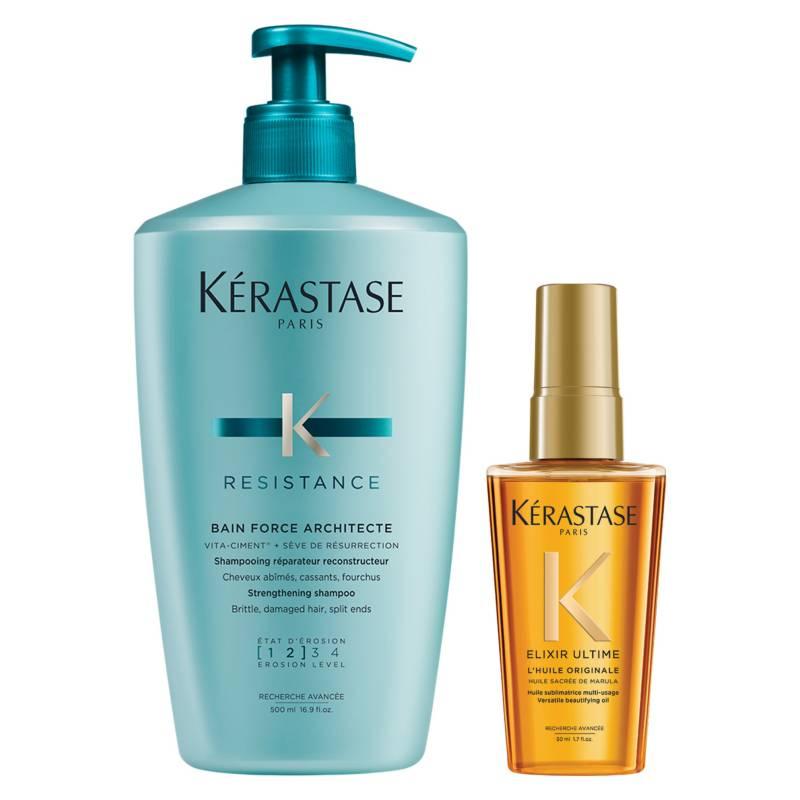 KERASTASE - Set Cabello Debilitado Bain 500 ml Force Architecte + Aceite L'Huile Originale 50 ml Elixir Ultime
