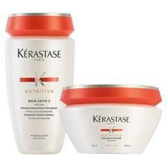 KERASTASE - Set Hidratación Cabello Grueso Nutritive Bain Satin 2 250 ml + Masque 200 ml