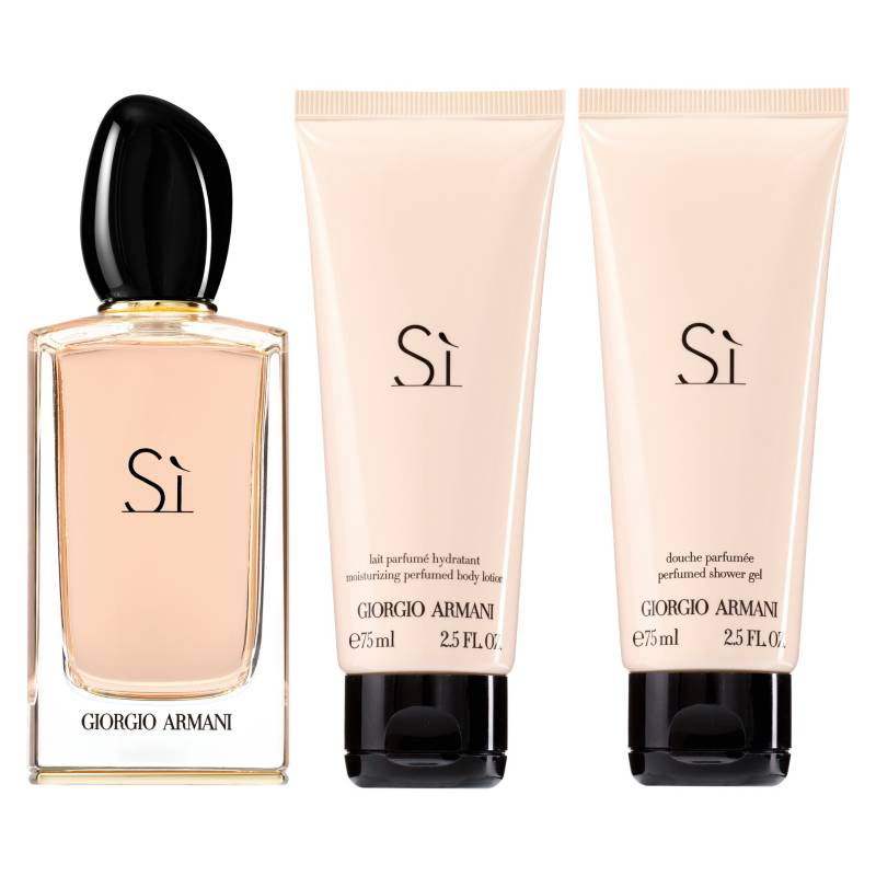 GIORGIO ARMANI - Set Perfume Mujer Si EDP 100 ml + Gel 75 ml + Loción 75 ml