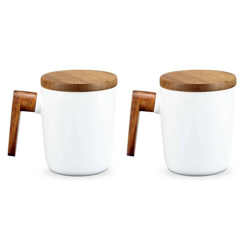 SOHOGAR - Pack 2 Tazas De Café Cerámica Y Tapa De Madera