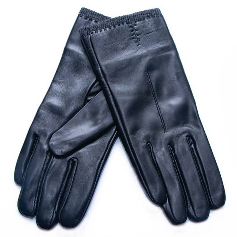 LOUNGE - Guantes Cuero Negro Touch Screen