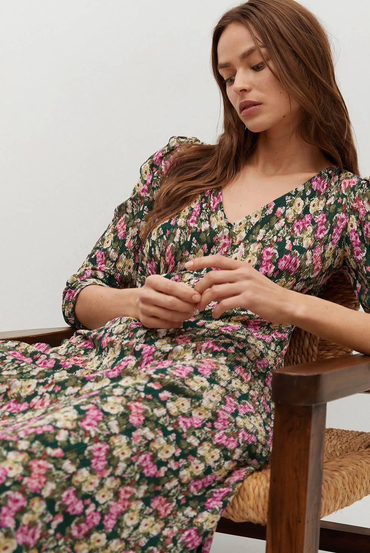 MANGO - Vestido Midi Detalle Fruncido Pomelo Mujer