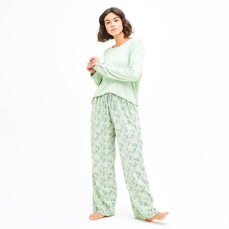 LOUNGE - Pijama Mujer Conjunto Polera Tigres Aqua