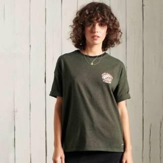 SUPERDRY - Camiseta de Corte Cuadrado Militar Narrative Mujer