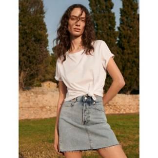 MANGO - Falda Denim 100% Algodón Tiro Alto Rachel Mujer