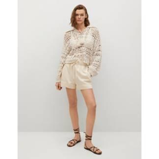 MANGO - Sweater Crochet Calado Cuello Polo Holbox Mujer