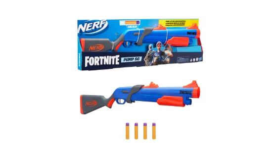 Lanzador Nerf Fortnite Pump SG - Retrocarga, por bombeo - 4 dardos Nerf Mega - Para niños, adolescentes y adultos