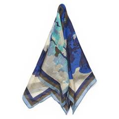 LOUNGE - Pañuelo Seda Flores Azul