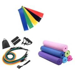 GENERICO - Pack Fitness Bandas Resistencia  Mat Yoga