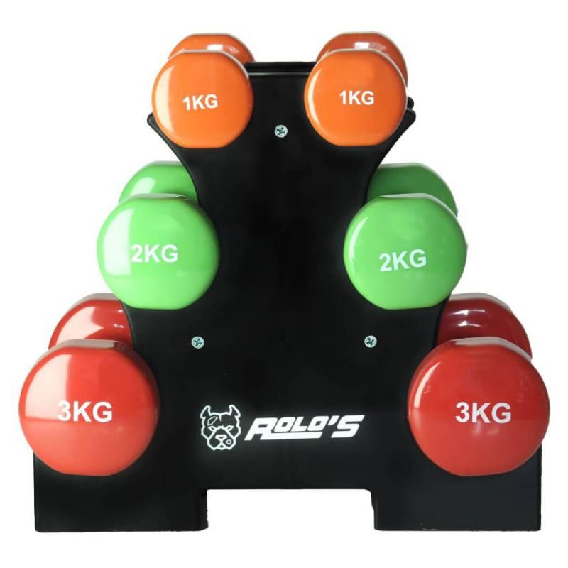 Rolos - Set Mancuernas 12 Kg Con Rack