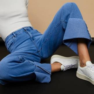 BASEMENT - Jeans Wide Leg Basta Doblada Tiro Alto Mujer