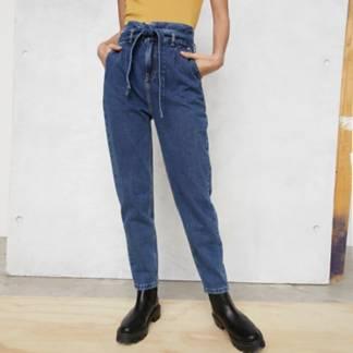 BASEMENT - Jeans Paperbag Tiro Alto Mujer