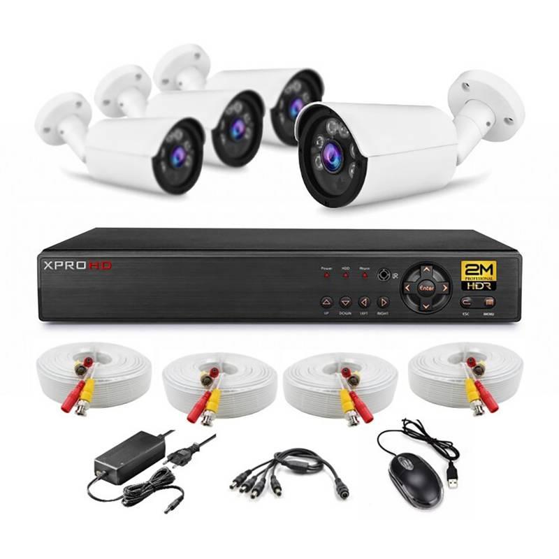 XPROHD - Kit 4 Camaras De Seguridad Box 2M 1080P Xvr8Ch 1Tb