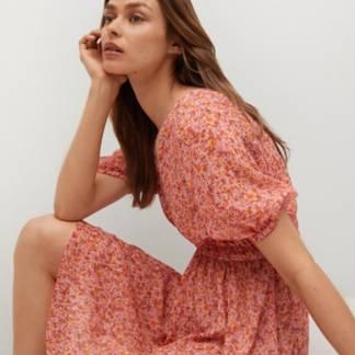 MANGO - Vestido Fluido Detalles Fruncidos Rose Mujer