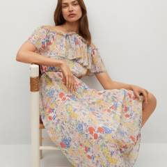 MANGO - Vestido Fluido Sin Hombros Volantes Loto Mujer