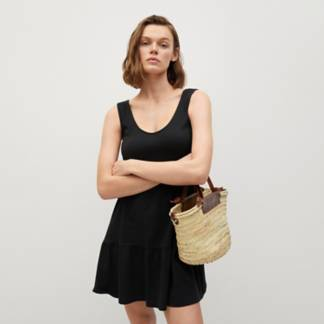 MANGO - Vestido 100% Algodón Orgánico Volantes Mujer
