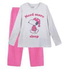 SNOOPY - Pijama Ll Mujer Sleep Gris Snoopy