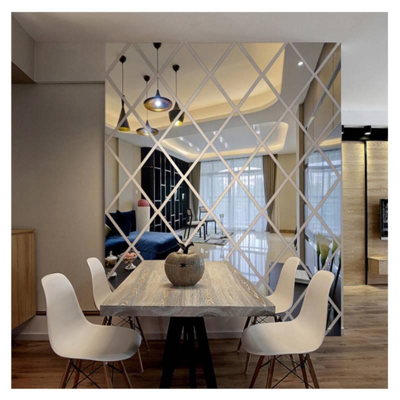 BORIA - Wall Art Adhesivo tipo Espejo Diamantes 100x50 cm