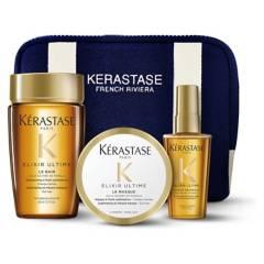 KERASTASE - Set Brillo Sublime Elixir Ultime Bain 80 ml + Masque 75 ml + Aceite 50 ml + Estuche