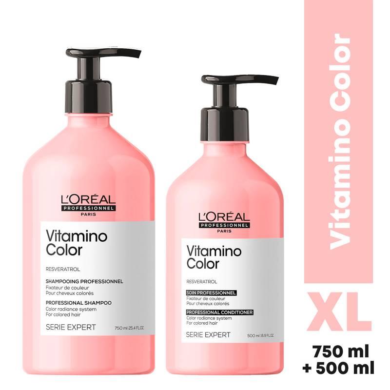LOREAL PROFESSIONNEL - Set XL Cuidado del Color Vitamino Color Serie Expert Shampoo 750 ml + Acondicionador 500 ml