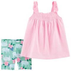 Carters - Conjunto 2 Piezas Blusa Y Short Tipo Calza Bebe Niña
