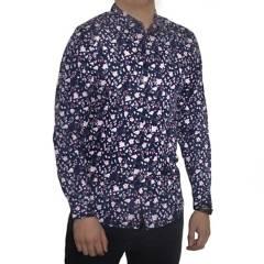 GENERICO - Camisa Floreada Diabolo Slim Fit Manga Larga Azul