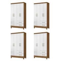 ROCH LTDA - Combo 4 Closet M-802 4 Puertas 2 Cajones