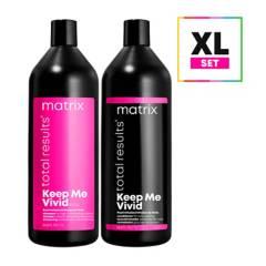 MATRIX - Set XL Cuidado Del Color Sin Sulfatos Shampoo 1 Litro + Acondicionador 1 Litro Keep Me Vivid