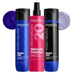 MATRIX - Set Matizador Brass Off Shampoo Azul 300 ml + Acondicionador 300 ml + Spray XL Miracle Creator 400 ml