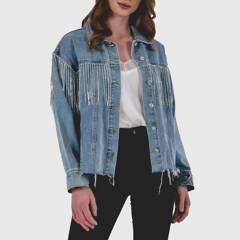 GUINDA - Chaqueta Azucena Jeans Flecos De Brillo