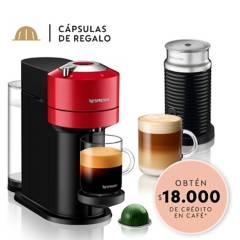NESPRESSO - Cafetera Vertuo Next Roja + Espumador De Leche