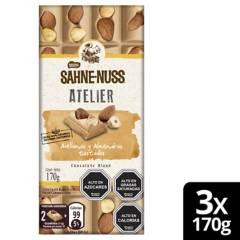 Nestle - Chocolate Sahne Nuss Avellanas Y Almendras 170G X3