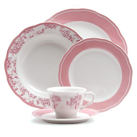 Juego de vajilla porcelana 30 piezas victoria rosa for Vajilla rosa