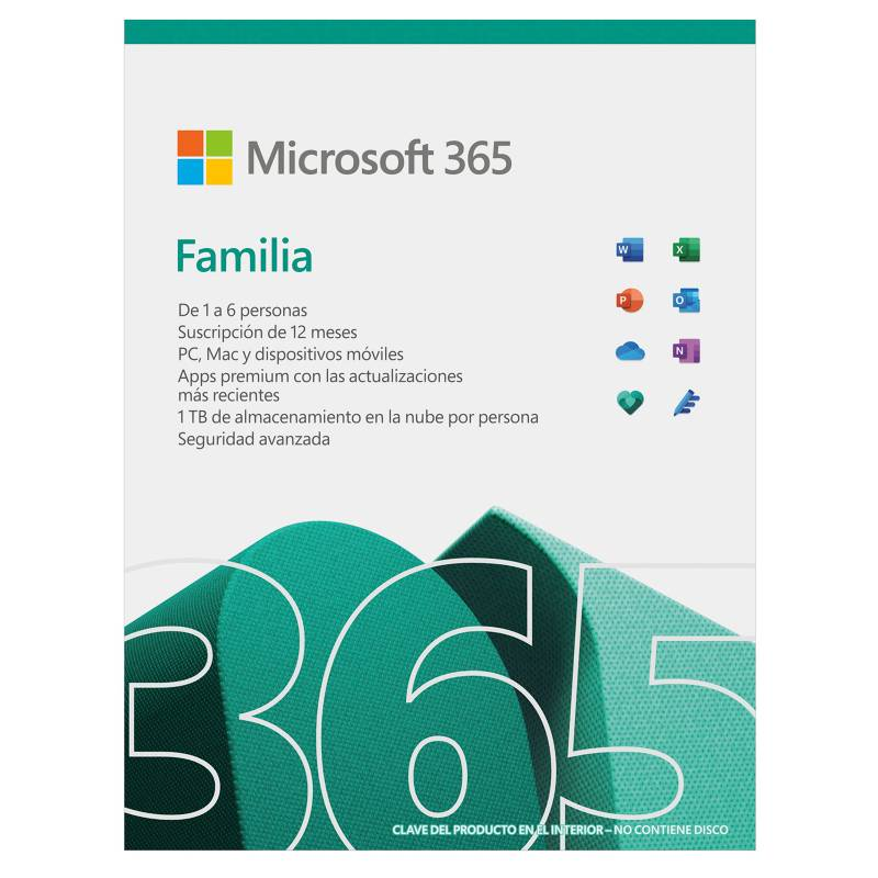 Microsoft - Microsoft 365 Familia (Hasta 6 Personas, Suscripción 12 Meses. Word, Excel, Power Point, Outlook, Onedrive, Seguridad)