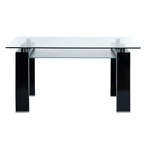 Mica mesa de comedor rectangular prisma negra for Mesa comedor negra
