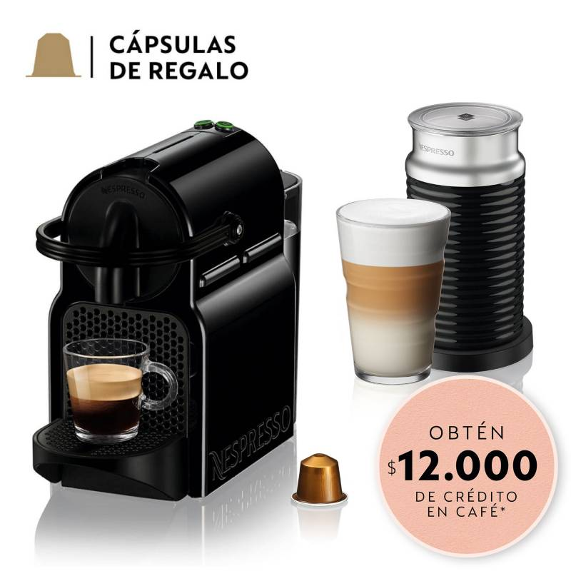 Nespresso - Cafetera Inissia D40 Negra y Espumador de Leche