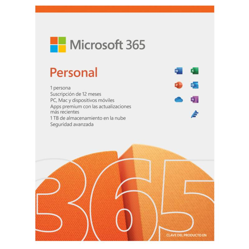 Microsoft - Microsoft 365 Personal (1 Persona, Suscripción 12 Meses, Word, Excel, Power Point, Outlook, Onedrive, Seguridad)