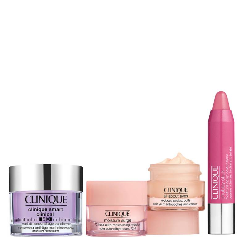 CLINIQUE - Set Gel Crema Anti edad Smart MD Resculpt + Hidratantes de Rostro Básicos + Bálsamo con color para labios
