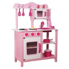 Kidscool - Cocina de Madera Rosada Con Acceso