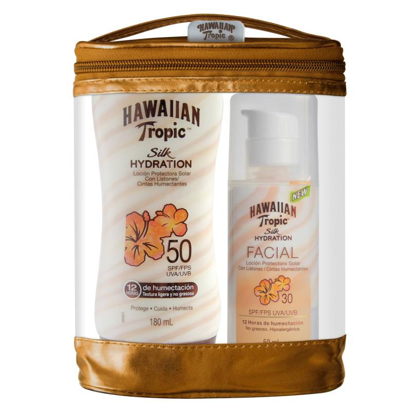 HAWAIIAN TROPIC - Pack Silk Facial FPS 30 50 ML + Silk FPS 50 Loción 180 ML