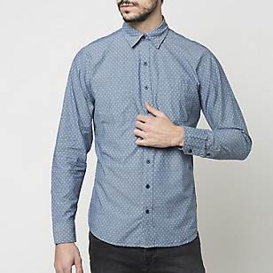 Camisa Slim-Fit Chambray Estampada
