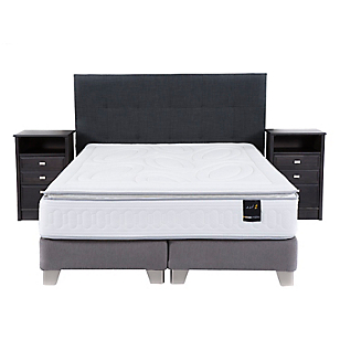 Box Spring Art 2 King Base Dividida + Muebles + Textil