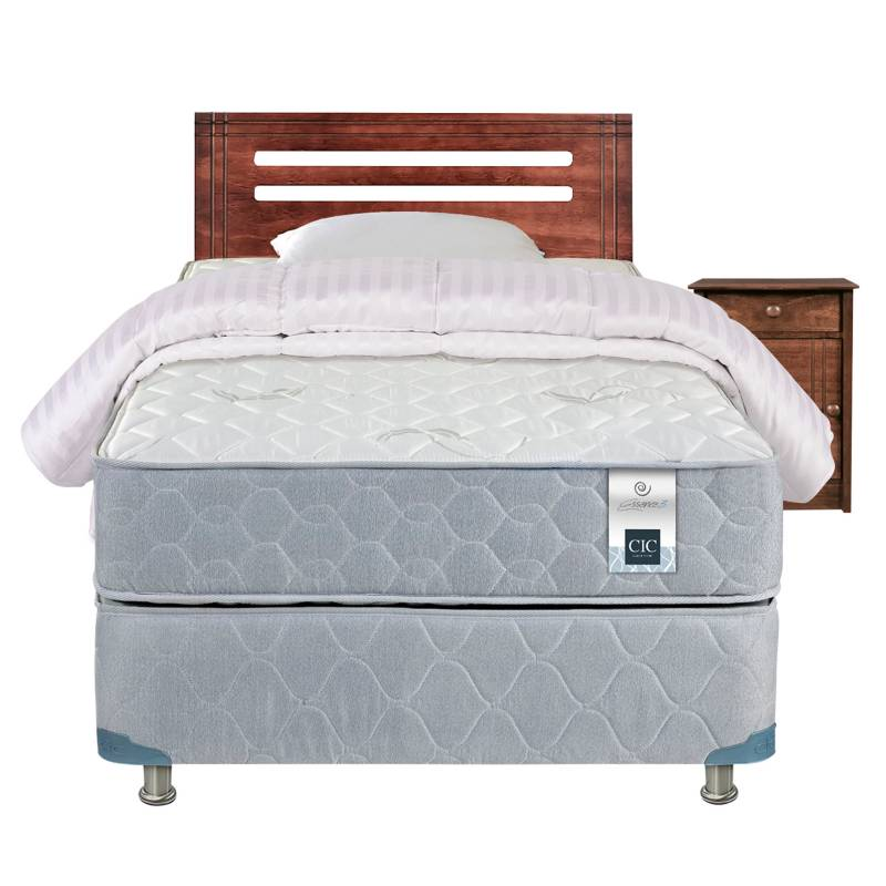 Cic - Cama Americana Essence 3 1 Plaza Base Normal + Muebles + Textil