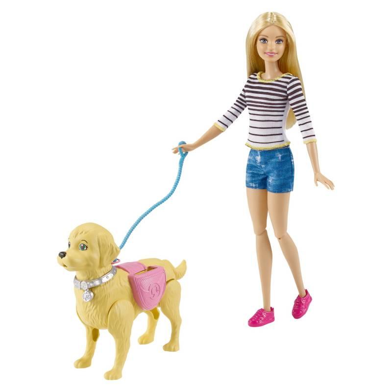 BARBIE - Muñeca Barbie Paseo De Perritos