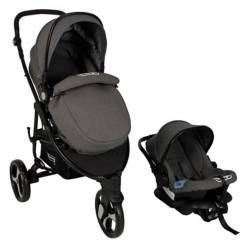 Bebeglo - Coche Travel System Gamma Gris Base Latch