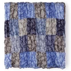 Pañuelo Foulard Kaos Cuadrados en Color Azul-Marino