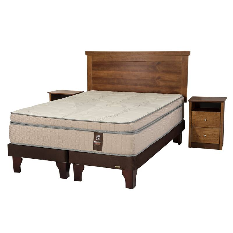 Flex - Cama Europea Maximo King Base Dividida + Muebles Catania