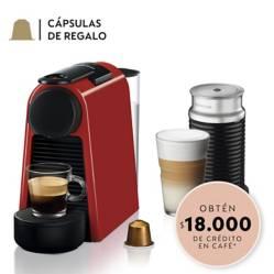 Nespresso - Cafetera Essenza Mini D30 Roja y Espumador de Leche