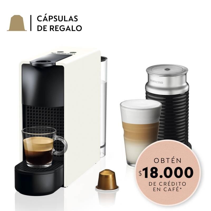 NESPRESSO - Cafetera Nespresso Essenza Mini C30 Blanca y Espumador de Leche
